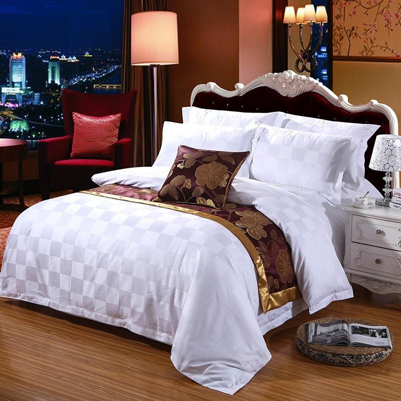 全棉60贡缎提花五星级酒店宾馆四件套